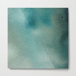 Hand painted blue teal abstract watercolor paint Metal Print