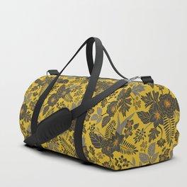 Mustard Yellow, Blue-Gray & Red Floral/Botanical Pattern Duffle Bag