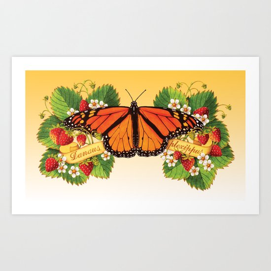 Monarch Butterfly with Strawberries Art Print