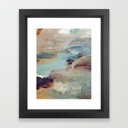 Gentle Beauty [5] - an elegant acrylic piece in deep purple, red, gold, and white Framed Art Print