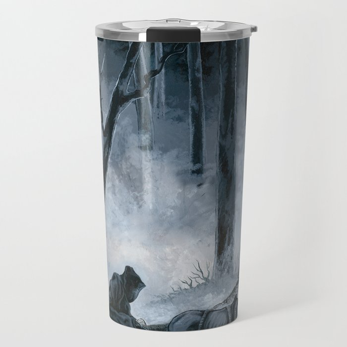 Grim Reaper with Horse in the Woods Travel Mug
