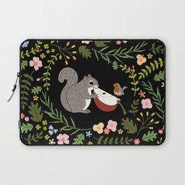 Friendship in Wildlife_Squirrel and Robin_Bg Black Laptop Sleeve