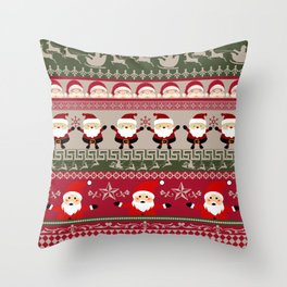 Santa Claus Ugly Sweater Throw Pillow