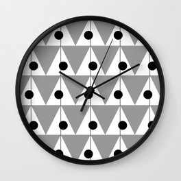 Vintage Vibes Large Geometric Pattern Grey Wall Clock