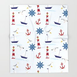 Nautical Collage Throw Blanket