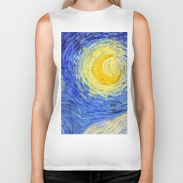 "Vincent Van Gogh "" Starry Night "" , Partial expansion Biker Tank"
