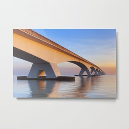 The Zeeland Bridge in Zeeland, The Netherlands at sunrise Metal Print