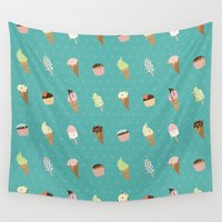 dessert Wall Tapestries featuring Dessert by Olya Yang