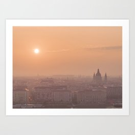 Sunrise Skyline in Budapest, Hungary Art Print