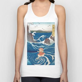 Ponyo and vintage japanese woodblock mashup Unisex Tank Top