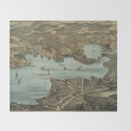 Vintage Pictorial Map of Lake Chautauqua NY (1885) Throw Blanket