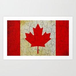 Cracked Canada flag Art Print