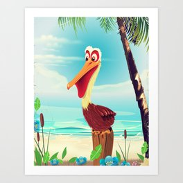 Vintage Pelican on the beach Art Print