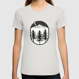 Black Starry Night Black Trees Mightnight T-shirt