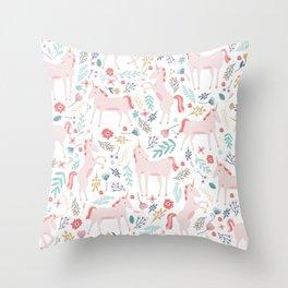 Unicorn Fields Throw Pillow