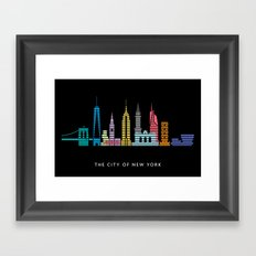New York Skyline Black Framed Art Print