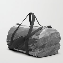panorama on adventure park hög alps serfaus fiss ladis tyrol austria europe black white Duffle Bag