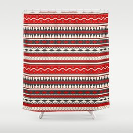 Traditional Romanian embroidery seamless pattern design Shower Curtain