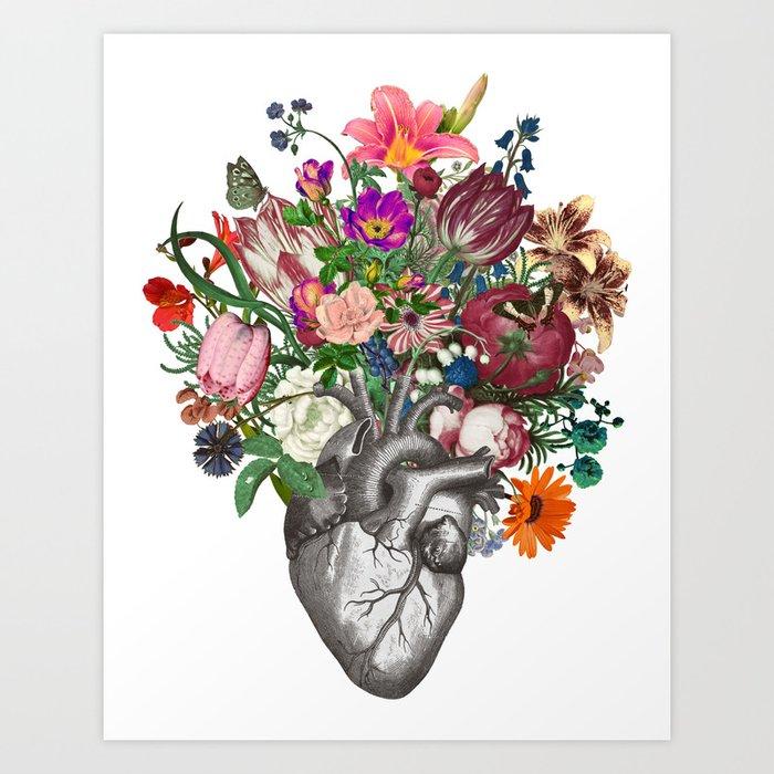 Anatomical heart and flowers Kunstdrucke