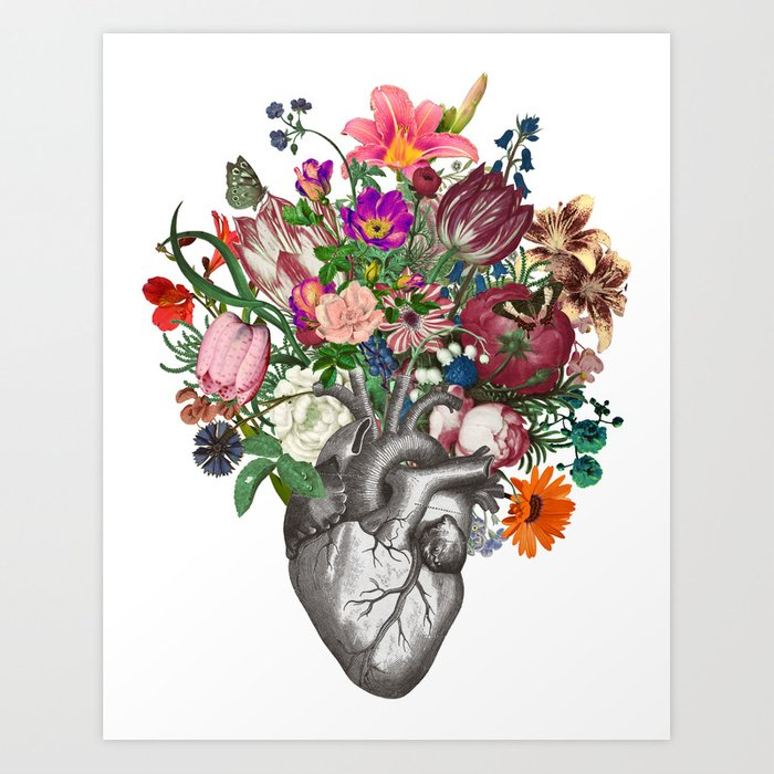 Anatomical heart and flowers Art Print by fleuriosity | Society6
