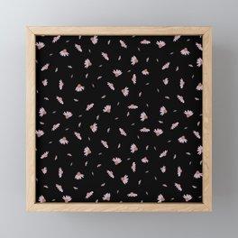 Flying Flowers - Black Pink Framed Mini Art Print