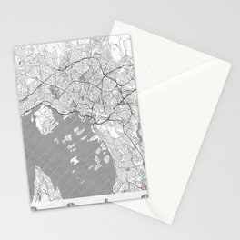 Oslo Map Line Stationery Cards