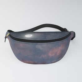 Glowing Moon on the night sky through pink clouds Fanny Pack