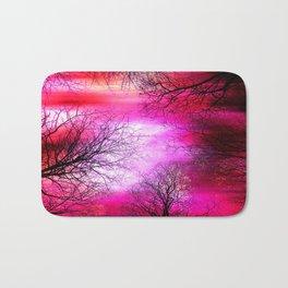 Black Trees Hot Pink Fuchsia Red Sky Bath Mat