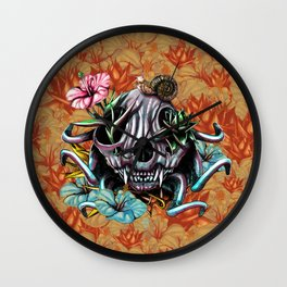 The Skull the Flowers and the Snail CoLoR Wall Clock