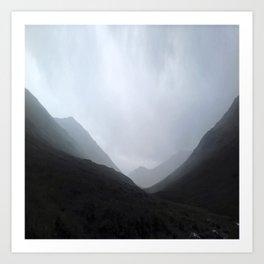 Back in the crouching mountains... Glencoe, Scotland Art Print