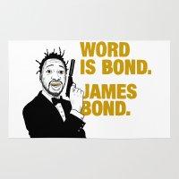 bond Area & Throw Rugs featuring Word is bond. James Bond. by Chris Piascik