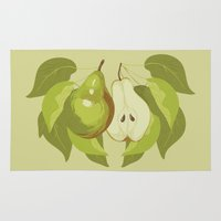 pear Area & Throw Rugs featuring Pear by Marlene Pixley