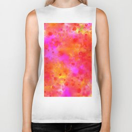 Watercolor Painting Bright Red & Summer Pink Abstract Paint Splashes Biker Tank