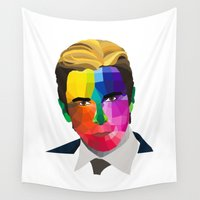 popart Wall Tapestries featuring Christian Bale - popart portrait by Dep's