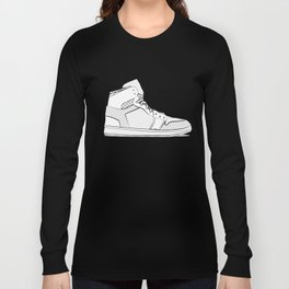 sneaker illustration pop art drawing - black and white graphic Long Sleeve T-shirt