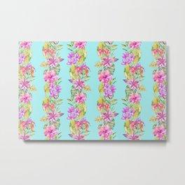 Luscious Jungle Flower And Leaf Stripes on Turquoise Metal Print