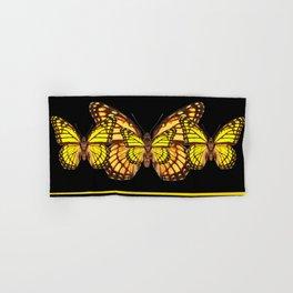 YELLOW MONARCH BUTTERFLIES & SUNFLOWERS BLACK ART Hand & Bath Towel