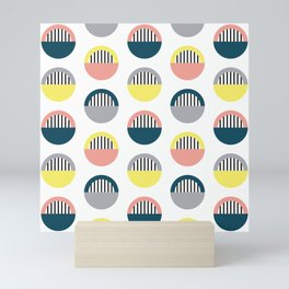 Stripes and semicircles Mini Art Print