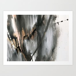 01025 [2]: a neutral abstract in gold, black, and white Art Print