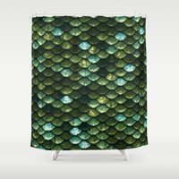 bisexual Shower Curtains featuring Aqua and green sparkling scales by Better HOME