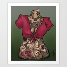 tattoed torso Art Print