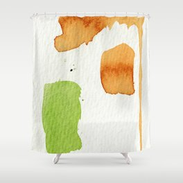 Orange and Green Abstract Art Shower Curtain