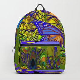 BLUE-PURPLE BUTTERFLY PEACOCK FEATHER PATTERNS Backpack