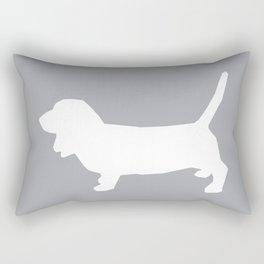 Basset Hound silhouette grey and white dog art dog breed pattern simple minimal Rectangular Pillow