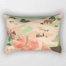 Farm Animals in Chairs #3 Pig Rectangular Pillow