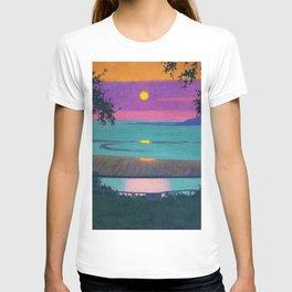 Sunset at Grace, Orange and Violet Sky landscape by Felix Vallotton T-shirt