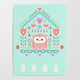 Scandinavian Folk Style Owl Bird House Poster