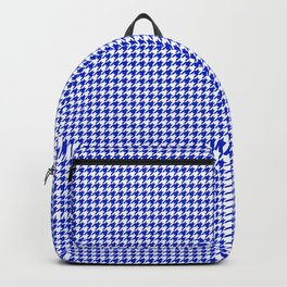Cobalt Blue and White Houndstooth Check Pattern Backpack