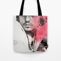 johnny depp Tote Bags featuring Johnny Depp Artwork by E. Staugaard