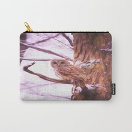 Painted Barred Owl Carry-All Pouch